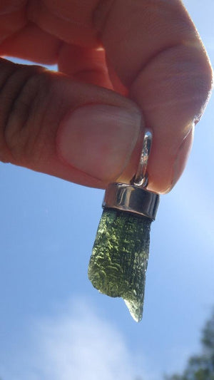 High Vibration Natural Moldavite Pendant In Sterling Silver (Includes Silver Chain) - Earth Family Crystals