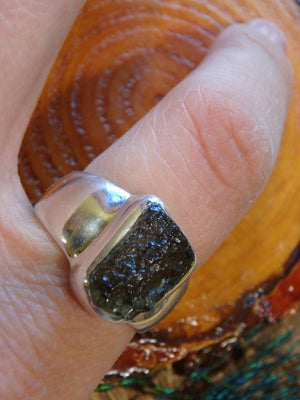 High Vibration Forest Green Genuine Moldavite Ring In Sterling Silver (Size 7.5) - Earth Family Crystals