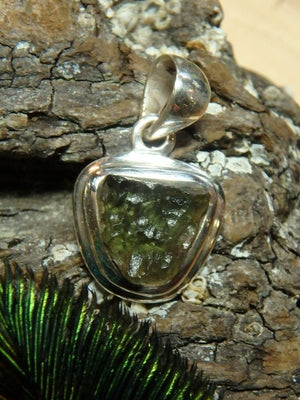 Adorable Dainty Raw Moldavite Gemstone Pendant In Sterling Silver (Includes Silver Chain) - Earth Family Crystals