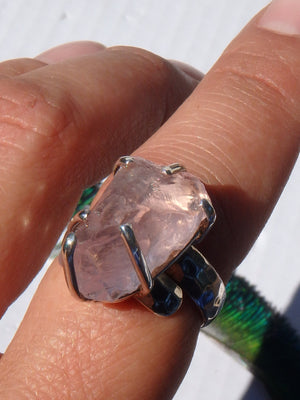Chunky Incredible Pink Raw Morganite Ring In Sterling Silver (Size Adjustable-7.5-8.5)