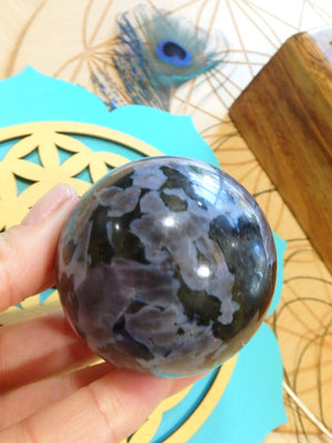 Lovely Mystic Merlinite Polished Sphere Carving - Earth Family Crystals