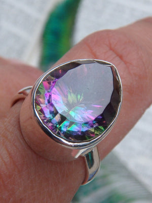 Rainbow Sparkle~Mystic Topaz Gemstone  Ring In Sterling Silver (Size 8.5) - Earth Family Crystals