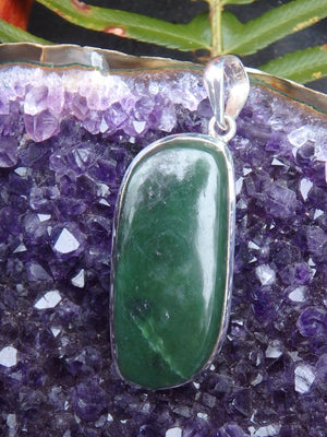 Interesting Forest Green Nephrite Jade Pendant In Sterling Silver  (Includes Silver Chain) - Earth Family Crystals