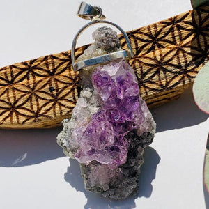 Breathtaking Gemmy Raw Lavender Amethyst Flower on Matrix Sterling Silver Pendant (Includes Silver Chain)