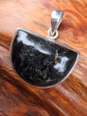 Reserved for Daniel Half Moon Genuine Nuummite Pendant In Sterling Silver  (Includes Silver Chain) - Earth Family Crystals