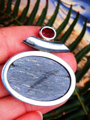 Pretty Faceted Burgundy Garnet and Genuine Nuummite Pendant In Sterling Silver  (Includes Silver Chain) REDUCED - Earth Family Crystals