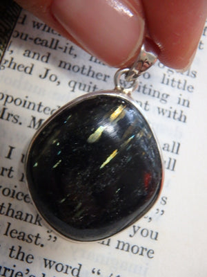 Mega Lightening Flashes Genuine Nuummite Gemstone Pendant In Sterling Silver (Includes Silver Chain) - Earth Family Crystals
