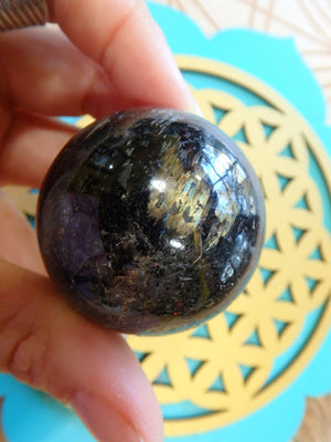 PRIVATE LISTING FOR ALESHA~Incredible Blue & Golden Firework Flash Genuine Greenland Nuummite Sphere - Earth Family Crystals