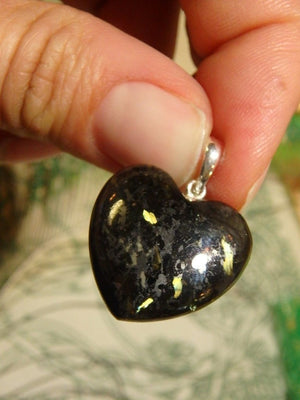 Adorable Nuummite Heart Pendant  In Sterling Silver (Includes Silver Chain) 1 - Earth Family Crystals