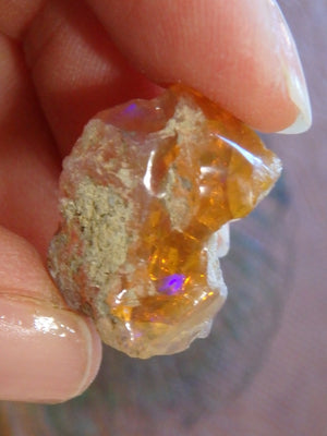 Orange Ethiopian Opal With Purple Flash Specimen - Earth Family Crystals