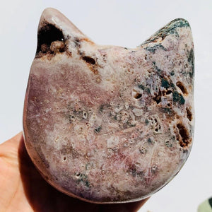 Adorable XL Pink Amethyst Druzy Cat Head Geode Carving - Earth Family Crystals