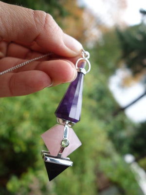 Custom Crafted Faceted Peridot & Garnet with Amethyst,Rose Quartz & Shungite Pyramid Pendulum In Sterling Silver - Earth Family Crystals