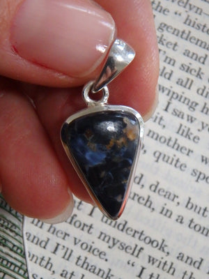 Silky Blue & Dainty Pietersite Gemstone Pendant In Sterling Silver (Includes Silver Chain) - Earth Family Crystals