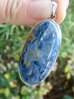 Lovely Silky Blue Large Pietersite Gemstone Pendant In Sterling Silver  (Includes Silver Chain) - Earth Family Crystals