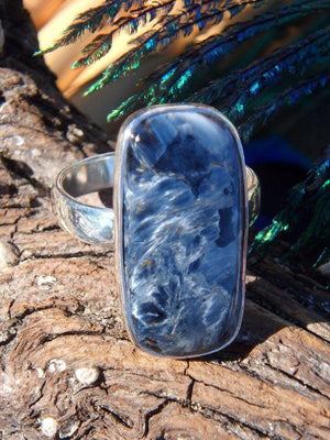 Amazing Satiny Blue Pietersite Gemstone Ring In Sterling Silver (Size 8.5) - Earth Family Crystals