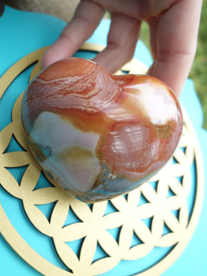 Fantastic & Pretty Puffy Polychrome Jasper Heart Carving - Earth Family Crystals