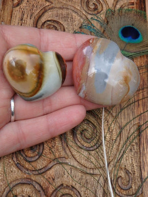 Cool Swirls  Polychrome Jasper Heart Set 1 - Earth Family Crystals