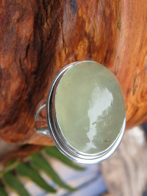 Lovely Green Prehnite With Epidot Inclusion Ring in Sterling Silver (Size 8.5) REDUCED - Earth Family Crystals
