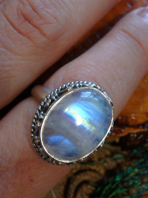 Amazing Design! Gorgeous Glowing Rainbow Moonstone Ring In Sterling Silver (Size 8.5) - Earth Family Crystals