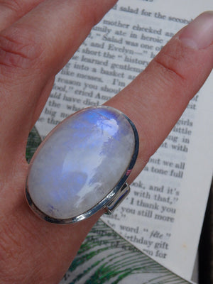 Extremely Chunky Rainbow Moonstone  Ring In Sterling Silver (Size 8) - Earth Family Crystals
