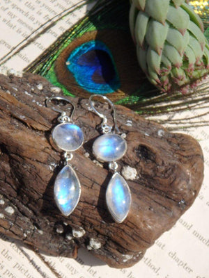 Absolutely Marvelous Rainbow Moonstone Gemstone Earrings In Sterling Silver - Earth Family Crystals