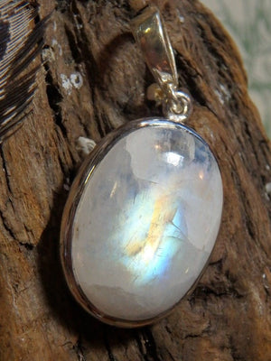 Amazing Rainbow Moonstone Gemstone Pendant In Sterling Silver (Includes Silver Chain) - Earth Family Crystals
