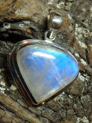 Amazing Glow Rainbow Moonstone Gemstone Pendant In Sterling Silver (Includes Silver Chain) - Earth Family Crystals