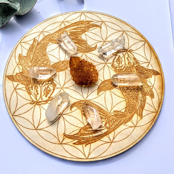 Crystal Mandala Set -Includes Koi Fish Flower of Life Birch Wood Board, Natural Golden Spirit Quartz & 6 Golden Healer Quartz Points
