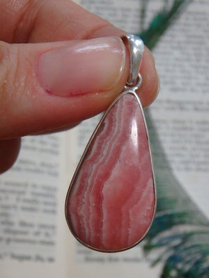 Fantastic Patterns! Teardrop Rhodochrosite Gemstone Pendant In Sterling Silver (Includes Silver Chain) - Earth Family Crystals