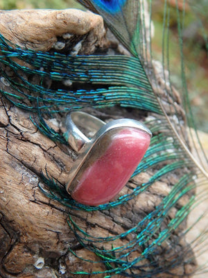 Cute Cranberry Red Rhodonite Ring In Sterling Silver (Size 6) - Earth Family Crystals