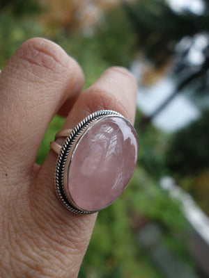 Glorious Chunky Pink Rose Quartz Ring In Sterling Silver (Size 9) - Earth Family Crystals