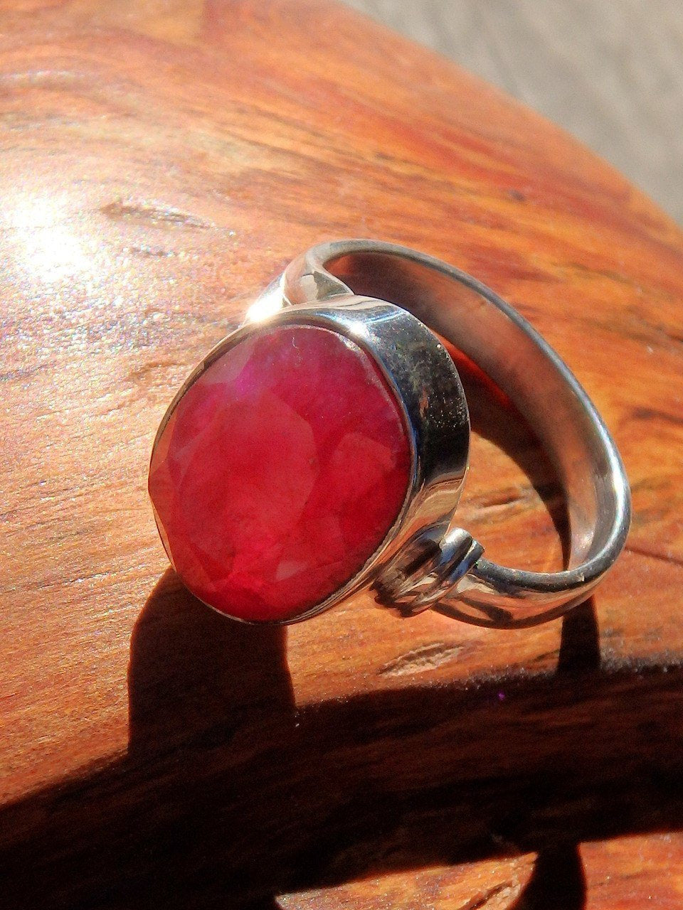 Products Ruby Anting Dolphin Crystal Delightful Faceted Ring In Sterling Silver Size 6 Earth Family Crystals