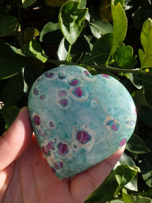 Amazing Large Ruby Fuschite Gemstone Heart with Mega Rubys - Earth Family Crystals