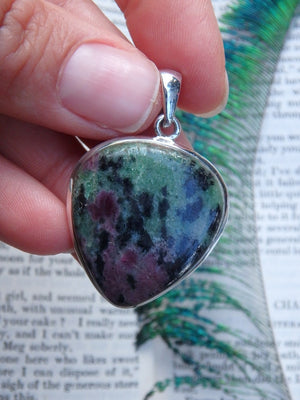 Forest Green & Burgundy Ruby Zoisite Pendant In Sterling Silver (Includes Silver Chain) - Earth Family Crystals