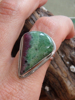 Chunky & Unique Ruby Zoisite  Ring In Sterling Silver (Size 7.5) - Earth Family Crystals