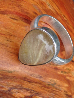 Threads of Golden Rutilated Quartz Ring in Sterling Silver (Size 6.5) - Earth Family Crystals