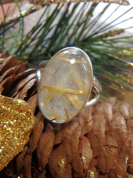 Threads of Golden Rutilated Quartz Gemstone Ring in Sterling Silver (Size 7.5) - Earth Family Crystals