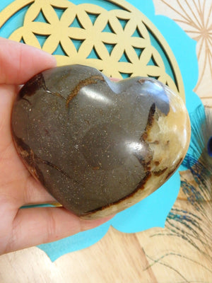 Golden & Warm Brown Septarian Heart Carving - Earth Family Crystals