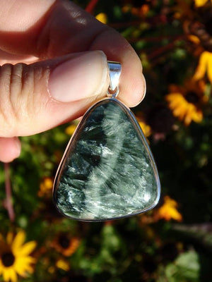 ANGEL WINGS SERAPHINITE GEMSTONE PENDANT in Sterling Silver* (Includes Silver Chain) - Earth Family Crystals
