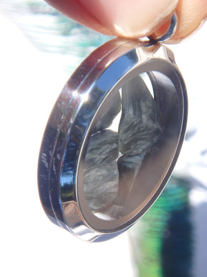 Angel Wings Seraphinite Floating in Locket Style Stainless Steel Pendant (Includes Silver Chain)