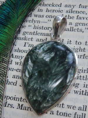 Angelic Vibes Large Seraphinite Gemstone Pendant In Sterling Silver (Includes Silver Chain) - Earth Family Crystals