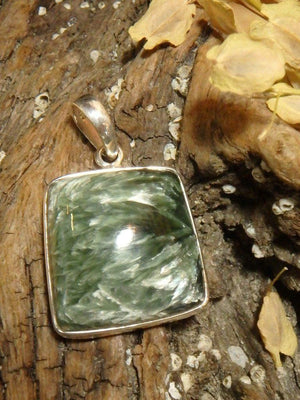 Angel Wings Seraphinite Gemstone Pendant In Sterling Silver (Includes Silver Chain) - Earth Family Crystals