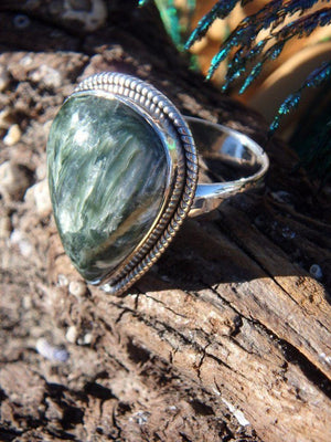 Angelic Seraphinite Gemstone Ring In Sterling Silver (Size 7.5) - Earth Family Crystals