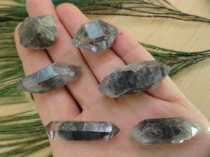 Set of 6 Double Terminated TIBETAN QUARTZ POINTS (Ideal for Wire Wrapping)) - Earth Family Crystals