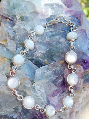 Beautiful Pearl Glow Shell Bracelet in Sterling Silver (Adjustable Size 7.5-8.5 inches) - Earth Family Crystals