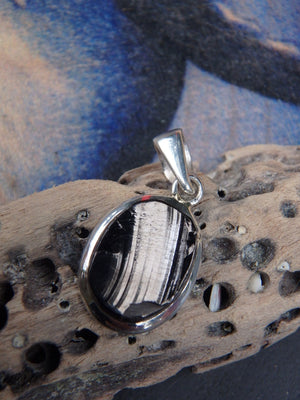 Natural Dainty Noble Shungite Pendant In Sterling Silver  (Includes Silver Chain)  REDUCED - Earth Family Crystals
