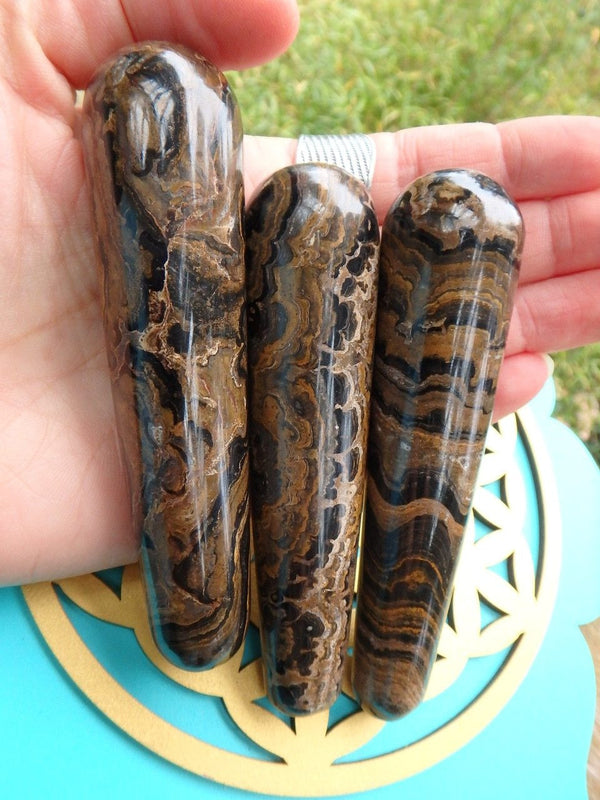 Awesome Patterns Stromatolite Gemstone Wand Carving (1) - Earth Family Crystals