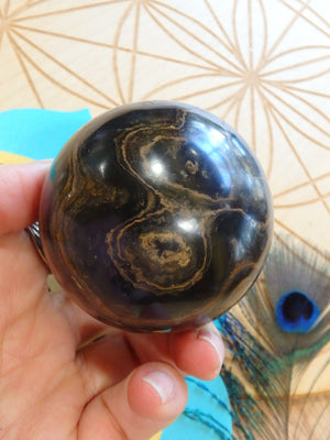 Incredible Chocolate Brown Swirls Stromatolite Gemstone Sphere - Earth Family Crystals