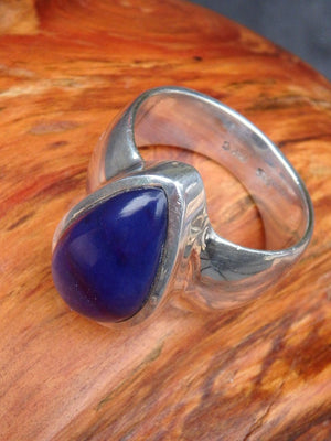 Deep Purple Teardrop Genuine Sugilite Gemstone Ring in Sterling Silver (Size 8.5) - Earth Family Crystals