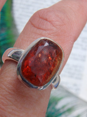 Reserved For Danielle AA Grade Orange Sparkle  Faceted Sunstone  Ring In Sterling Silver (Size 8) - Earth Family Crystals